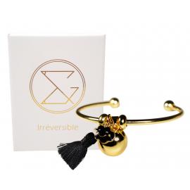 Bracelet Bola de grossesse or lisse - CASSIE (Nuage noir/Pompon noir)