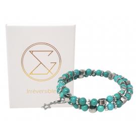 Bracelet d'allaitement pierre naturelle - Howlite Magnésite teintée
