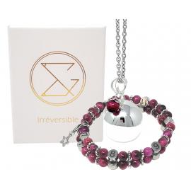 Box Bola argent lisse et bracelet d'allaitement pierre naturelle - Œil du Tigre Rose teintée