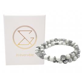Box Bola argent lisse et bracelet d'allaitement pierre naturelle - Howlite Magnésite