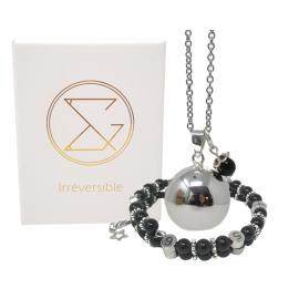 Box Bola argent lisse et bracelet d'allaitement pierre naturelle - Obsidienne