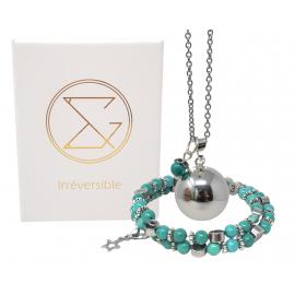 Box Bola argent lisse et bracelet d'allaitement pierre naturelle - Howlite Magnésite teintée