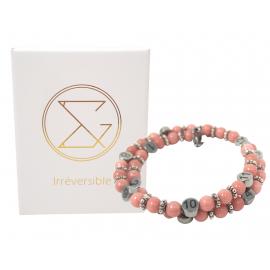 Box Bola argent lisse et bracelet d'allaitement pierre naturelle - Quartz rose
