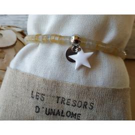 Bracelet acier inoxydable et Citrine