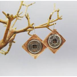 Boucles d'oreille - Cuivre et argent - Pièce chinoise