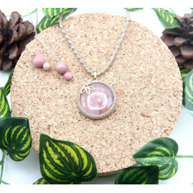 Collier Agate et Rhodochrosite • Lotus Gold Filled 14 Carats