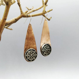 Boucles d'oreille - Cuivre et argent - Roue du dharma