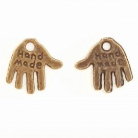 """Breloque Main """"MADE HAND"""" N°01 Bronze"""