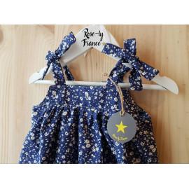 Barboteuse bébé liberty bleu