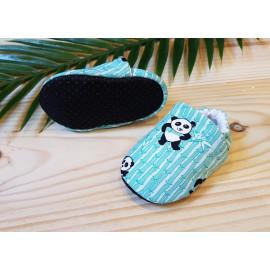 Chaussons bébé panda et bambou antidérapants