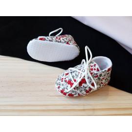Chaussons bébé liberty rouge semelles antidérapantes