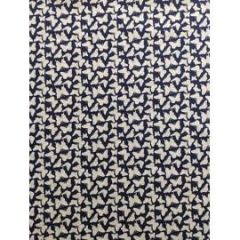 Tissu coton - Petits papillons blanc sur fond bleu marine - Oeko-Tex