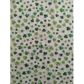 Tissu coton - Trèfle porte bonheur ton vert sur fond blanc - Oeko-Tex