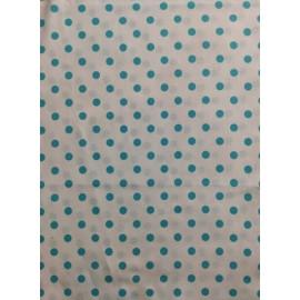 Tissu coton - Pois turquoise sur fond blanc - Oeko-Tex