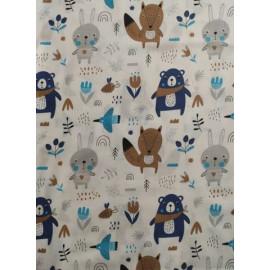 Tissu coton - Ours / lapins / renards ton marron / bleu sur fond blanc - Oeko-Tex
