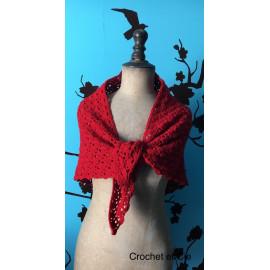 Châle / chèche rouge au crochet
