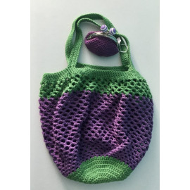 box cadeau shopping contenant un sac filet et un porte monnaie violet et vert