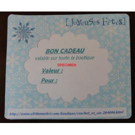 Bon cadeau de Noël valable chez Crochet-et-cie