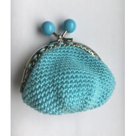 porte monnaie bleu turquoise fermoir à boules