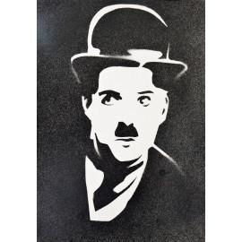 Portrait pochoir à la bombe Charlie Chaplin