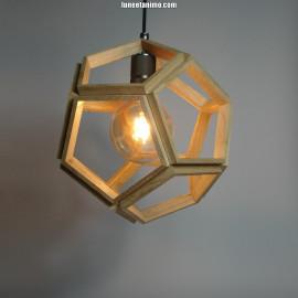 DODECA // Suspension design en bois, en forme de dodécaèdre 33cm