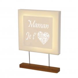 Tableau led carré avec mot personnalisé pour la fête des mères et support