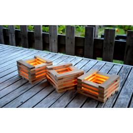 3cubes // Photophores en bois recyclé décoration extérieure