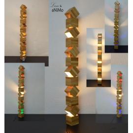 Danquen-Xxl, lampadaire design en bois, grande taille, avec 3 lampes à LED 155cm