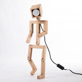 Jaffu // Lampe bonhomme design articulée en bois de chêne recyclé 53cm