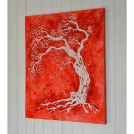 Tableau 'Arbre de vie rouge', décoration murale