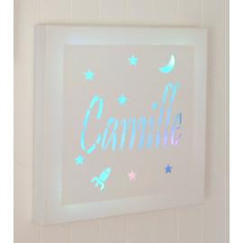 Tableau lumineux carré à LED, prénom, personnalisé, décoration murale ou à poser, avec ou sans support