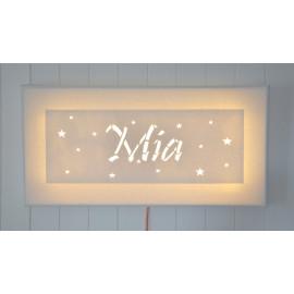 Tableau lumineux rectangulaire à LED, prénom, personnalisé, décoration murale ou à poser