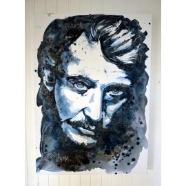 Portrait de Johnny Hallyday, Décoration murale, Peinture à l'acrylique