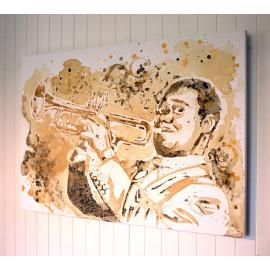 Portrait de Louis Armstrong, Décoration murale, Pochoir au café et acrylique doré