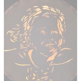 Tableau lumineux rond LED, 'Portrait d'après photo' - Commande personnalisable