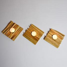 Myxaim // Lot de 3 porte bougies en bois recyclé