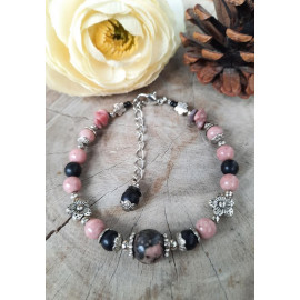 Bracelet RHODONITE, AGATE, pierres naturelles (Laurine)