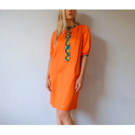 Robe en soie orange à cravate en wax NINA