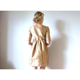 Robe en soie or et cuivre à taille haute OPHELIE