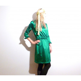 Robe vert émeraude en satin duchesse MELISANDE