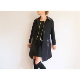 Manteau droit en lainage et cuir noir à grand col ADRIENNE