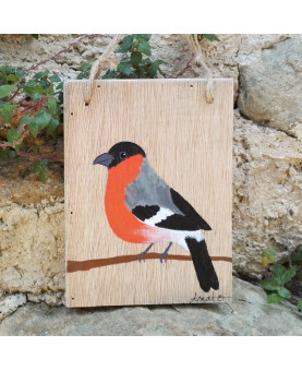 Petit Tableau peinture sur bois oiseau Bouvreuil pivoine