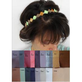 Headband bohème graphique cuir personnalisable, losange de cuir coloré, couronne mariage.