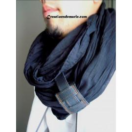 Écharpe homme coton noir, foulard, chèche homme noir manchette cuir.
