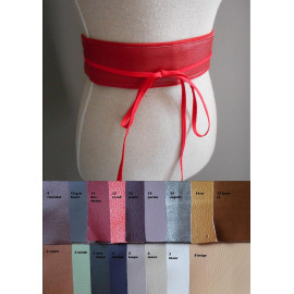 Ceinture à nouer cuir et tissu personnalisable forme obi pour femmes, ceinture corset rétro cuir.