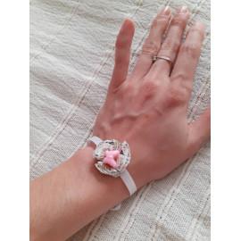 Bracelet mariage, témoin, baptême, demoiselle d'honneur fleur liberty origami à nouer
