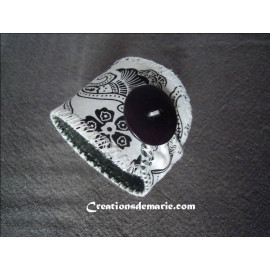 Bracelet manchette femmes rétro, bijou textile original cuir et coton imprimé noir et blanc
