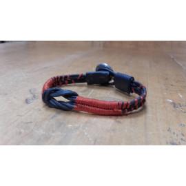 Bracelet homme nœud marin cordon coton noir et tissage brique, bijou masculin.