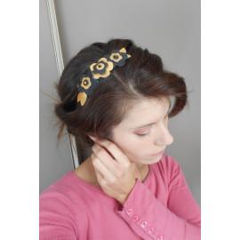 Headband fleurs de cuir doré et noir, couronne, bandeau rétro et bohème .