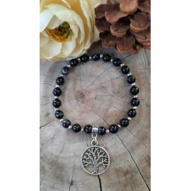 Bracelet AGATE, pierres naturelles et son arbre de vie (Line)